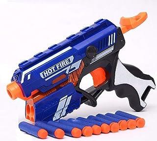 keton Blaze Storm Soft Bullet Shooting Gun Toys with 5 Foam Bullets & 5 Suction Dart Bullets (10 Pc) - Multicolour