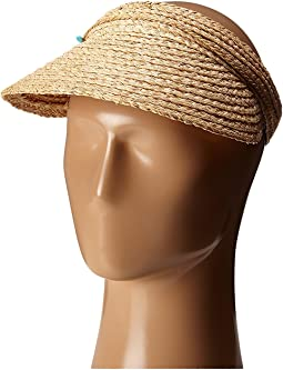 RHV1503 Raffia Visor with Turqoise Trim