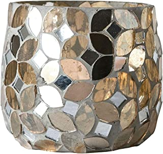 Creative Co-op Gold Mosaic Glass Tealight Candle Holder