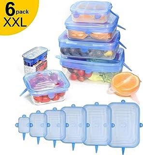longzon. 6 Piezas Tapas de Silicona Reutilizables Ecológicas Sin BPA, Tapas Cuadradas de Silicona, para Lavavajillas, Microondas, Horno o Refrigerador. - Azul