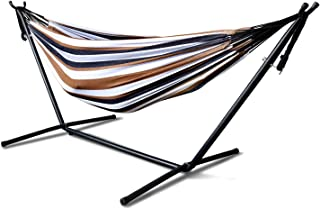 Double Cotton Hammock with Space Saving 9ft Steel Stand, Heavy Duty Portable Combo for Indoor Outdoor Backyard Patio Camping , 2 Person Frame 450 lb Capacity, Storage Bag Included (Desert Moon)