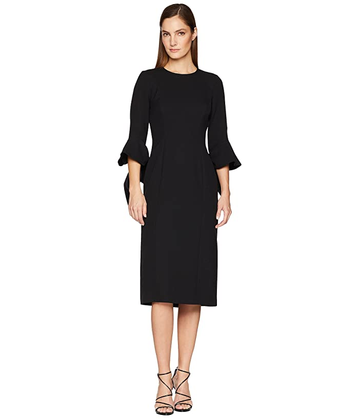 Prabal Gurung Poly Crepe Ruffle Sleeve Dress (Black) Women's Dress