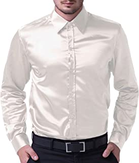 ca4b0513 PJ PAUL JONES Men's Solid Color Shiny Satin Silk Like Dance Prom Dress Shirt