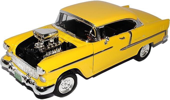 Motormax Chevrolet Bel Air Coupe Gelb Custom Motorhaube 1955 1 18 Modell Auto Spielzeug