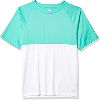 Teal Cove Men's Color Block Short Sleeve Swim Tee with 20+ Upf Protection