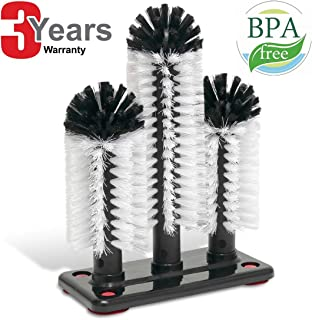 Commercial Triple 3 Brush Bar Glass Washer for Sink with Suction Cup Base