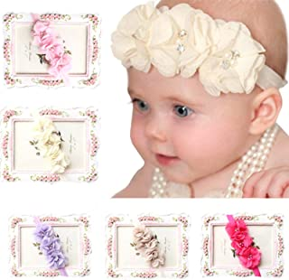 Fullkang Infant Baby Pearl Chiffon Barefoot Toddler Foot Flower Beach Sandals Pink