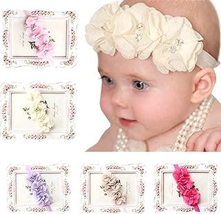 Fullkang 5pc Babys Girls Elastic Headband Chiffon Flower Photography Headbands