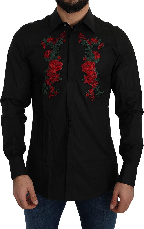 Dolce Gabbana Black Cotton Roses Gold Shirt Logo Popular Year-end gift