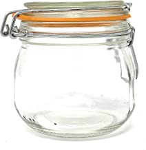 (2 Pack) 16 oz, Pint, 500 ml, Glass French Canning Jars with Stainless Steel Wire Bail. Airtight Jar. Hinged lids. Great f...