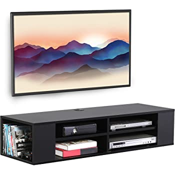 Amazon Com Fitueyes Wall Mounted Media Console Floating Tv Stand Component Shelf Black Fds212002wb Kitchen Dining