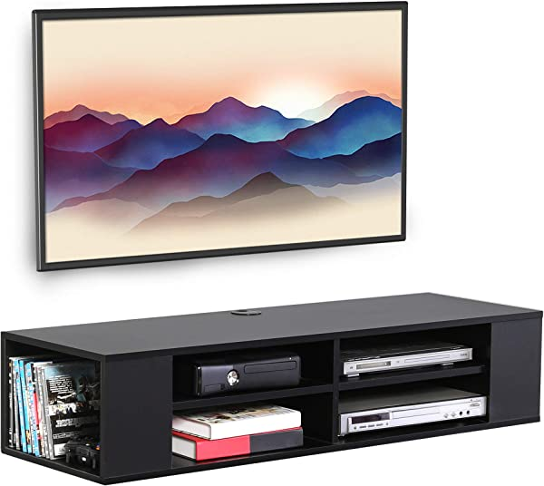 FITUEYES Black Wall Mounted Media Console Floating TV Stand Component Shelf