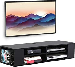 FITUEYES Media Entertainment Storage Shelf Black Wall Mounted Floating TV Stand Media Audio/Video Console DS212002WB