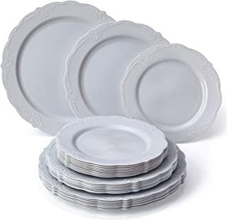 VINTAGE COLLECTION 120 PC DINNERWARE SET | 40 Dinner Plates | 40 Salad Plates | 40 Dessert Plates | Durable Plastic Dishes | Elegant Fine China Look | for Upscale Wedding and Dining (Grey)