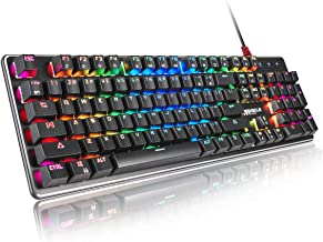 Gaming Keyboard, RGB Backlight PC Mechanical Gaming keybords Wired Blue Switch Aluminum Alloy Base Happy Fast and Accurate...
