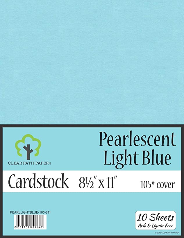 Pearl Shimmer Metallic Light Blue Cardstock - 8.5 x 11 inch - 105Lb Cover - 10 Sheets