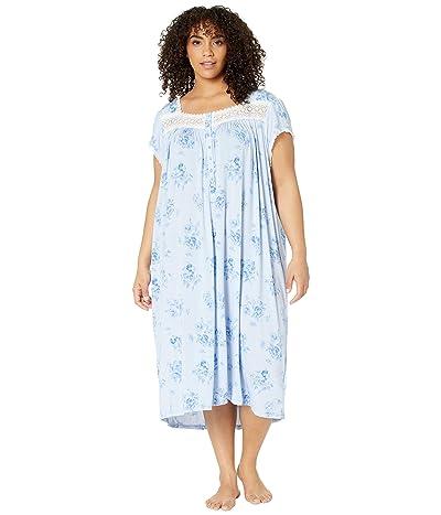 Eileen West Plus Size Modal Spandex Jersey Knit Cap Sleeve Waltz Nightgown (Peri Ground/Mono Floral) Women