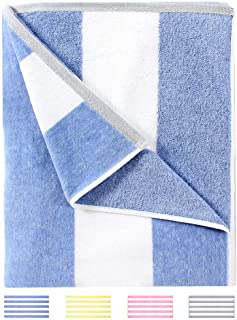 HENBAY Fluffy Oversized Beach Towel - Plush Thick Large 70 x 35 Inch Cotton Pool Towel, Blue Striped Quick Dry Swimming Ca...