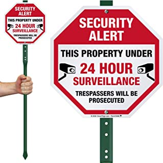 """SmartSign""""Security Alert - This Property Under 24 Hour Surveillance, Trespassers Will Be Prosecuted"""" Sign for Lawn 