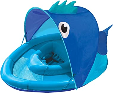 SwimSchool Blue Fun Fish Fabric Baby Pool Float, Splash & Play Activity Center, Dual Air Pillow Chambers with Retractable Can