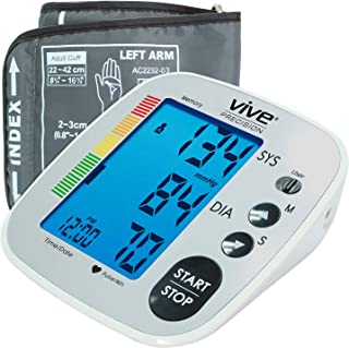 Vive Precision Blood Pressure Machine - Heart Rate Monitor - Automatic BPM Upper Arm Cuff -