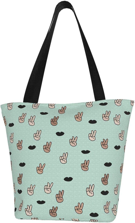 Cute Green Victory Sign V Lips Themed Printed Women Canvas Handbag Zipper Shoulder Bag Work Booksbag Tote Purse Leisure Hobo Bag For Shopping