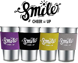 Metal Kids Cups 11 oz Stainless Steel Drinking Glasses with Silicone Sleeve set of 4