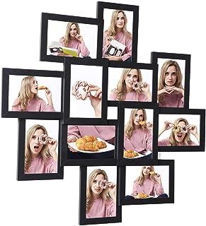 SONGMICS Cadre Photo, Pêle-mêle, Capacité 12 Photos de 10 x 15 cm, Nécessite Assemblage, Vitre en Verre, Noir RPF22BK