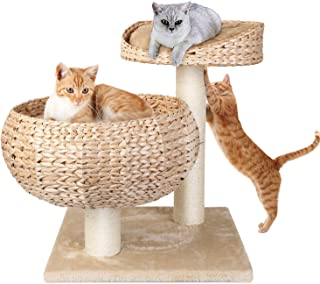 Pedy Cat Tree with Scratching Post, Sisal-Covered Climbing Cat Tower, Cat Activity Tree with Paper Rope and Cat Tree House with Perch, 2 Story Cat Condo Great for Kitten