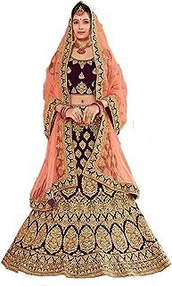 Globalia Creation Women's Velvet Semi-stitched Lehenga Choli (kudi maroon_Beige_Free Size)