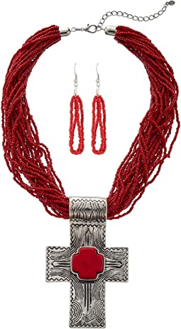 M&F Western - Multi Strand Etched Cross Beaded Necklace/Earrings Set