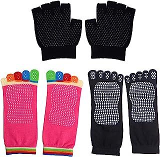 Healifty, Calcetines de Yoga Calcetines Antideslizantes de Cinco Dedos Calcetines Pilates Barre Ballet Calcetines de Baile con Agarres Antideslizantes para Mujeres Hombres 2 Pares