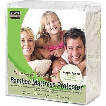 Utopia Bedding Protector de colchón Impermeable de bambú Funda de colchón hipoalergénica y Ajustable (150 cm x 200 cm x 30 cm)