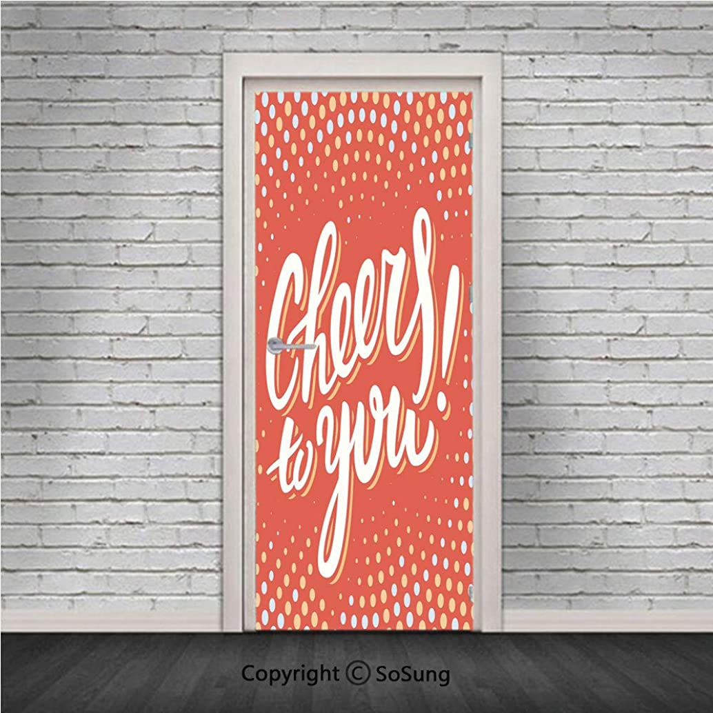 Graduation Decor Door Wall Mural Wallpaper Stickers,Cheers To You Happy Message Text Polka Dots Retro Style,Vinyl Removable 3D Decals 30.4x78.7/2 Pieces set,for Home Decor Orange Light Yellow Baby Blu