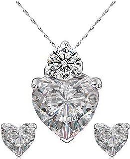 Karatcart Platinum Plated Heart Shaped Austrian Crystal Pendant Set for Women