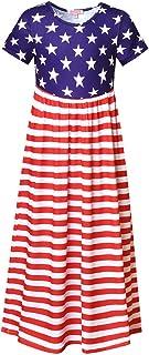 QPANCY فساتين ماكسي زهرية للفتيات قصيرة الأكمام فستان طويل مع جيوب