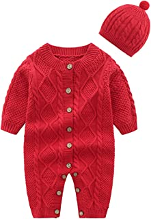 Baby Newborn Cotton Knitted Sweater Romper Longsleeve Outfit with Warm Hat Set