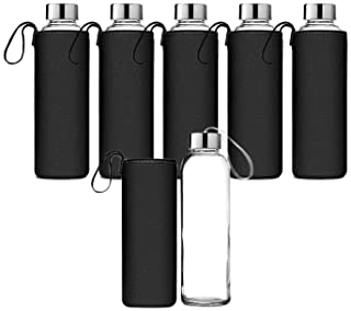 Chef's Star Glass Water Bottle 6 Pack 18oz Bottles For beverages and Juicer Use Stainless Steel leak proof Caps With ...