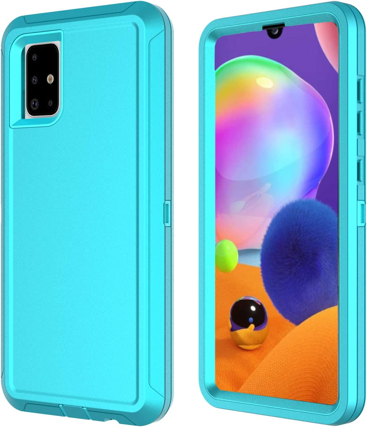 Aimoll-88 Galaxy A31 Case, with Built-in Screen Protector 3in 1 Heavy Duty Shockproof Drop Protection Defender [NOT Fit for Galaxy A31 5G] Hard Hybrid Bumper Phone Cover for Samsung Galaxy A31