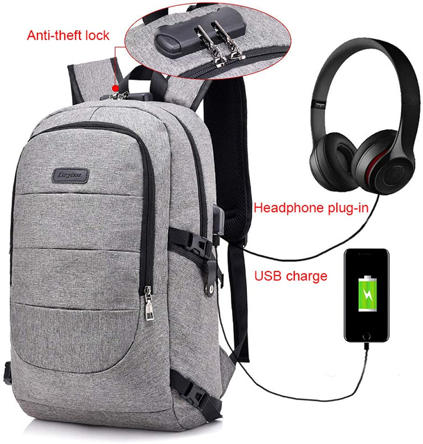 HUYANNABAO External USB Charge Backpack Men Anti Theft Lock Laptop Bag Large School Bags Male Travel Backpacks with Headphone Plug