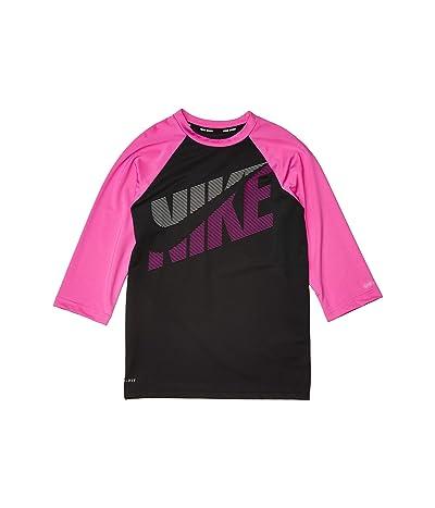 Nike Kids Tilt Short Sleeve Hydroguard (Little Kids/Big Kids) (Black) Girl