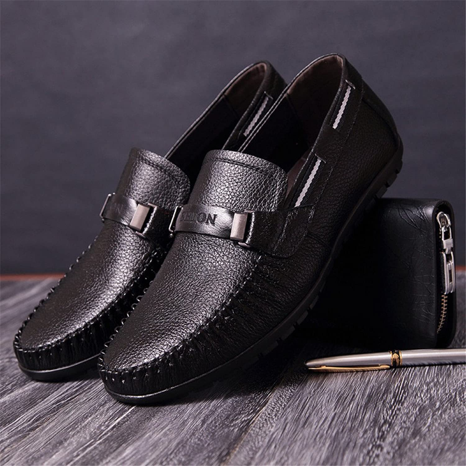 Men's casual fashion leather shoes, leather men's bean shoes, sports casual shoes,black,Forty-one