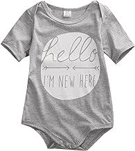 Magical Baby Newborn Baby Boys Girls Short Sleeve Hello I'm New Here Bodysuit Romper