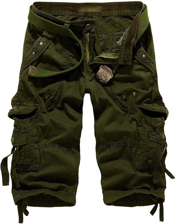 B dressy Summer Cargo Shorts Men Casual Workout Military Multi-Pocket Calf-Length Short Pants-Army Green-29