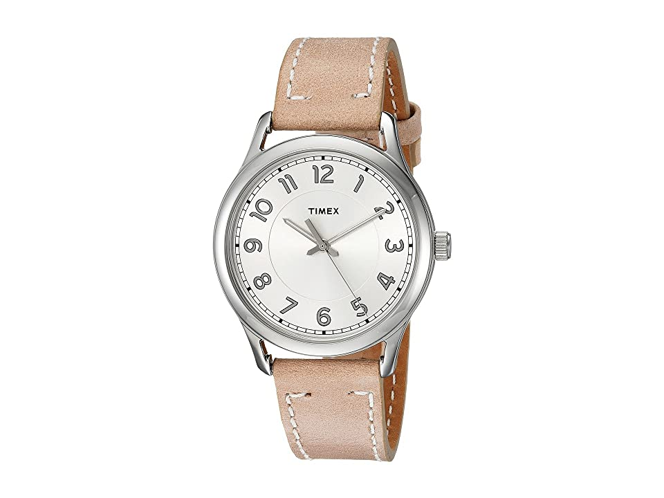 Timex New England Leather Strap (Sand/Pearl White) Watches, Beige
