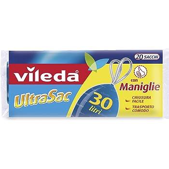 con Maniglie 30 Litri 15 Pezzi Vileda UltraSac SupeRinforzato Sacchi Immondizia
