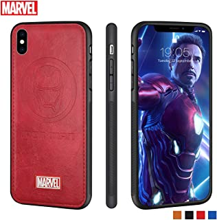 Marvel Avengers iPhone Leather Case Protective Cell Phone Case for iPhone X/XS Marvel Avengers Comic Super Hero Inspired Series 3D Premium Scratch-Resistant (Red Ironman)