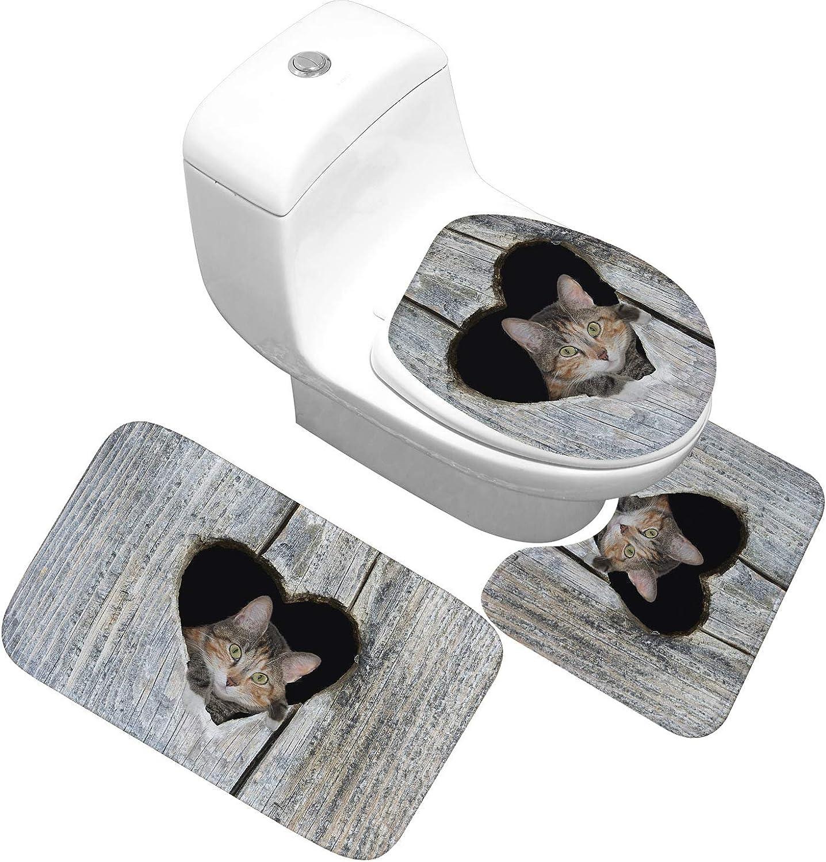 Printed Bathroom Toilet Water Three-Piece Floor mat Door mat,21,50X80cm