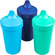 Re-Play Made in USA Toddler Feeding No Spill Sippy Cups in Sky Blue, Navy Blue, Aqua (True Blue Collection) Eco Friendly Heavyweight Recycled Milk Jugs are Virtually Indestructible!