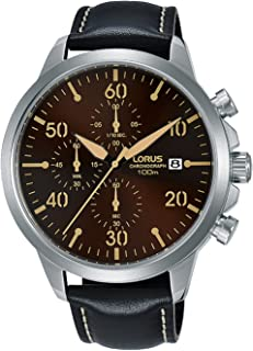 RM351EX9 - Lorus Sports, Quartz, 100m Water Resistant, Chronograph, Brown Dial, Black Leather Strap